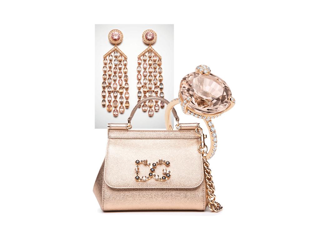 VONsociety: hochkarätige Schmuckstücke, Ohrringe von Schullin Wien, Ring von Bucherer, Tasche von Dolce & Gabbana