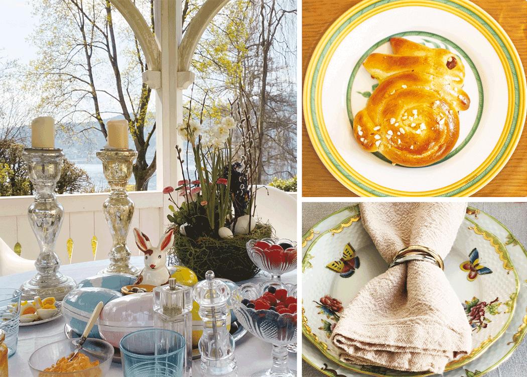 VONsociety: Ostern 2020, Ostertisch von Ati Strolz, mt Ostereiern, Reimling, frischen Früchten, Herend Porzellan, Brioche-Hase